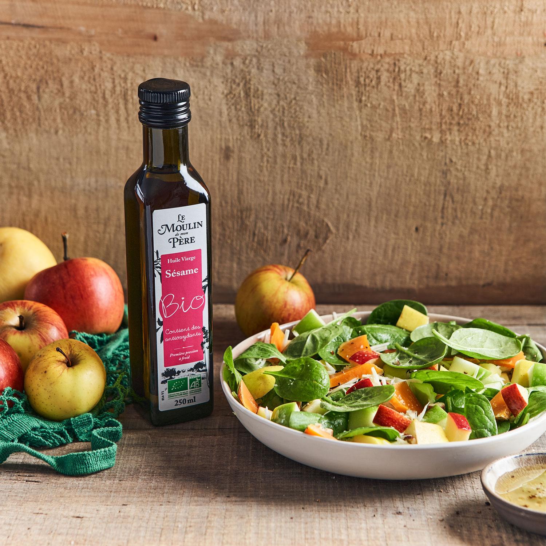 recette salade de pousses d'épinard aux trois pommes Le Moulin de mon Père